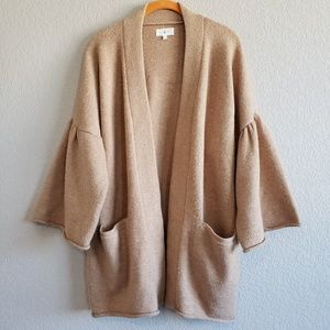 Lou & Gray | Tan Bell Sleeve Pocket Cardigan EUC